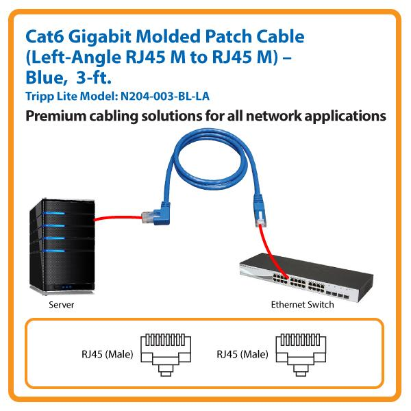 amazon com tripp lite cat6 gigabit molded patch cable rj45 left rh amazon com