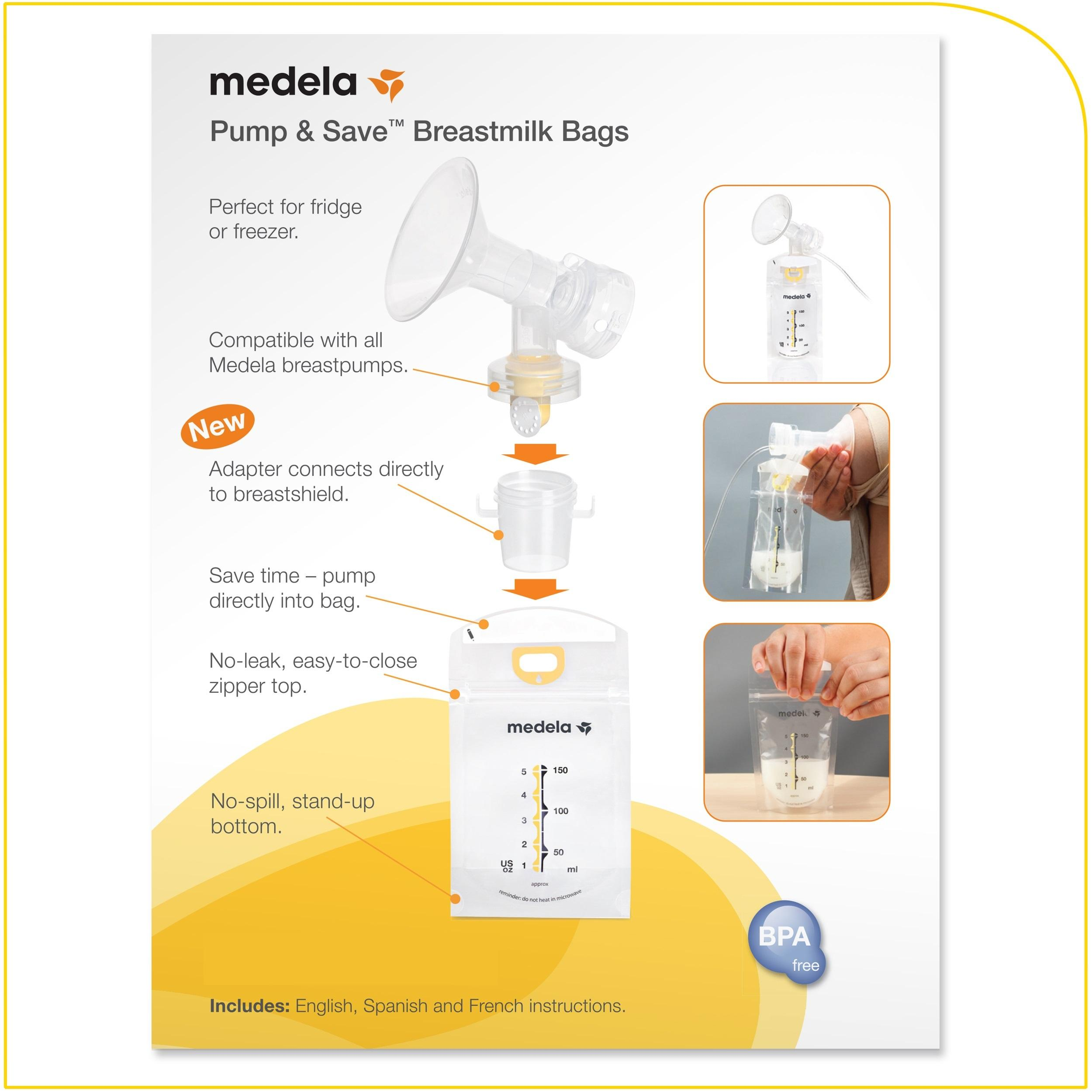 Medela Pump & Save Breast Milk Storage Bags, 20 Count Pack, Breastmilk Freezer Bags, Pour or Pump Directly into Bags with Included Easy Connect ...