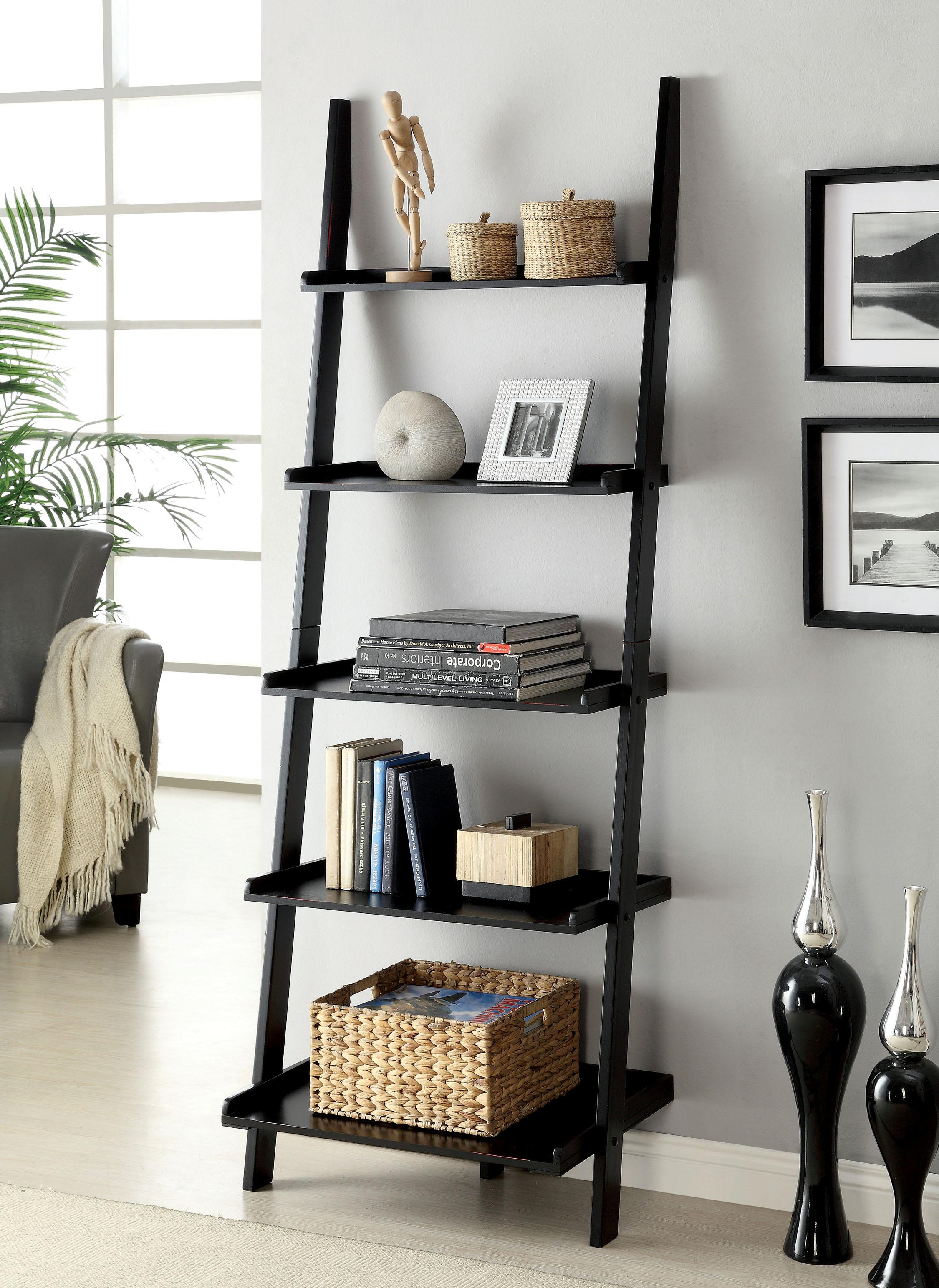 Furniture of America Klaudalie 5-Tier Ladder Style Bookshelf, Black
