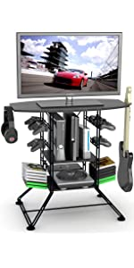 Centipede game gaming video storage organization xbox ps3 ps4 wii guitar hero rockband tv stand
