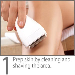 Step 1: Prep skin by cleaning and shaving the area.