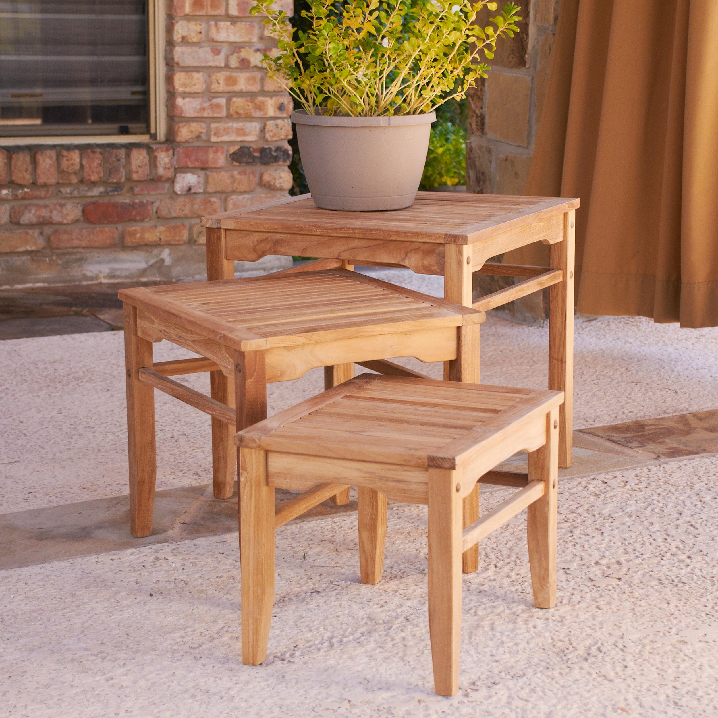 View larger & Amazon.com : Southern Enterprises Teak Wood Nesting Table Set of 3 ...