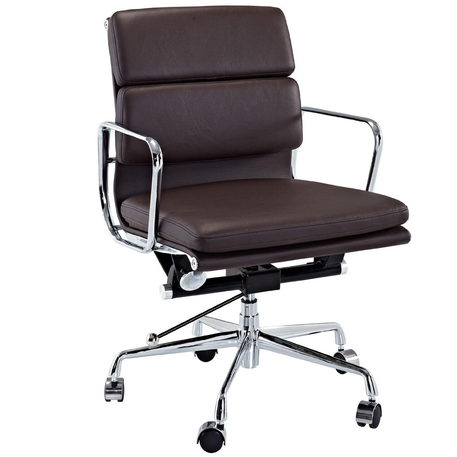Modway Discovery Mid Back Leather Conference Office Chair In Brown Genuine Leather