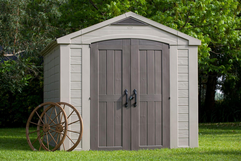 Keter factor large 8 x 11 ft resin outdoor - Brown plastic garden sheds ...