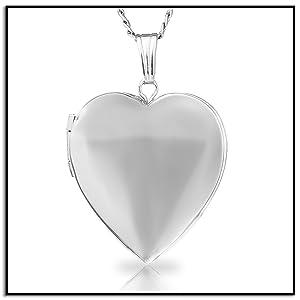 Amazon.com: Plata de ley colgante de corazón pulido ...