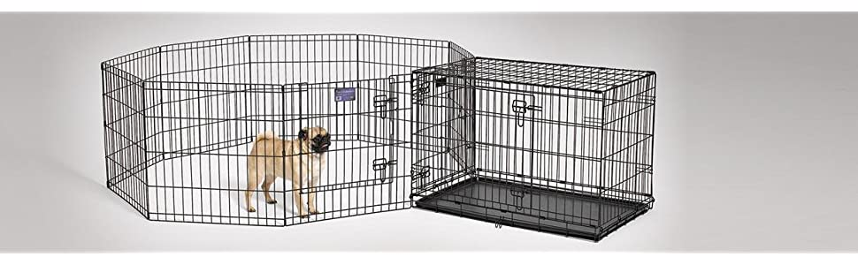 Amazoncom midwest foldable metal exercise pen pet for Dog exercise pen with door