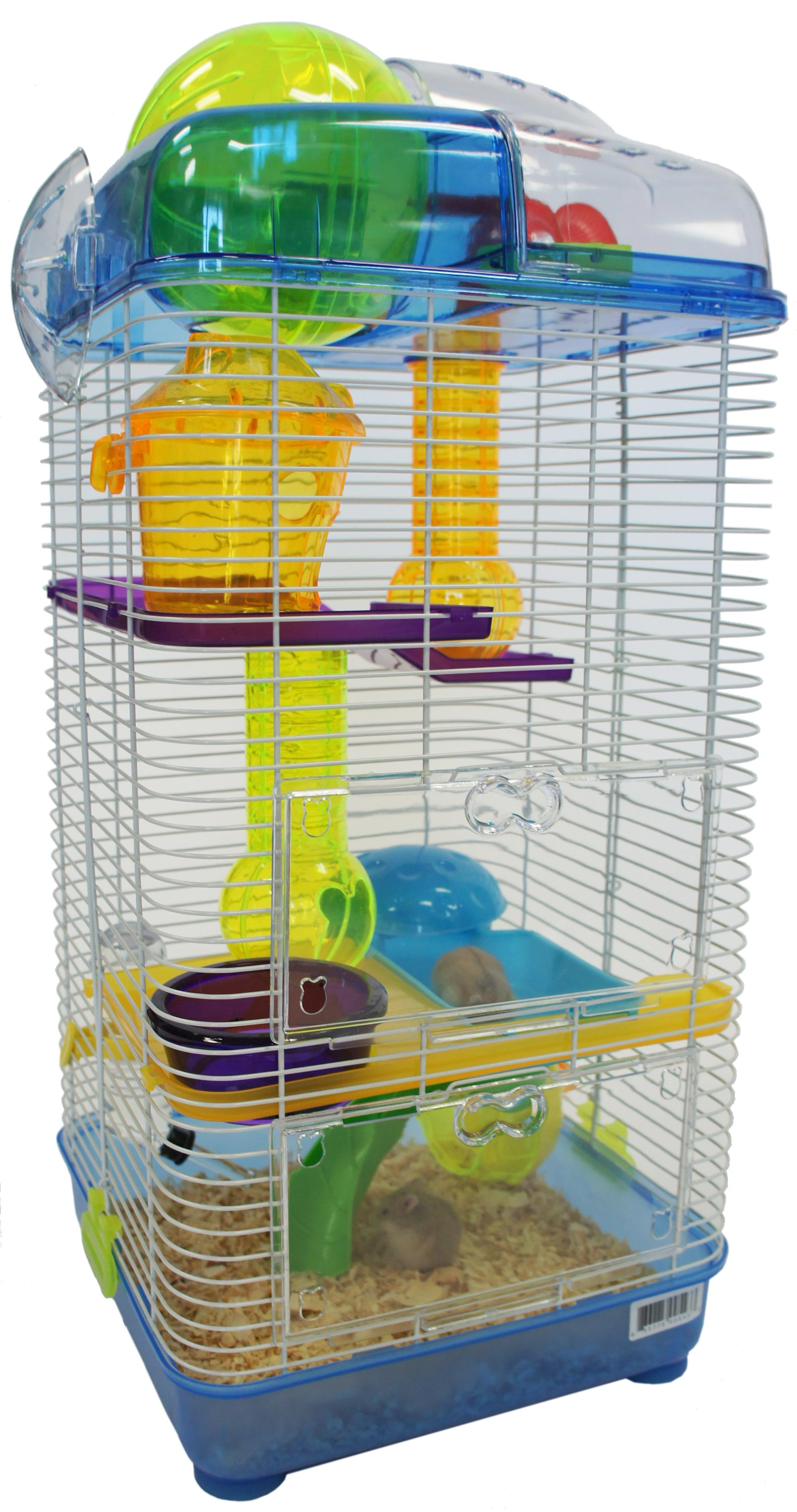 Amazon.com : YML 3-Level Clear Plastic Dwarf Hamster Mice Cage with Ball on Top, Blue : Pet