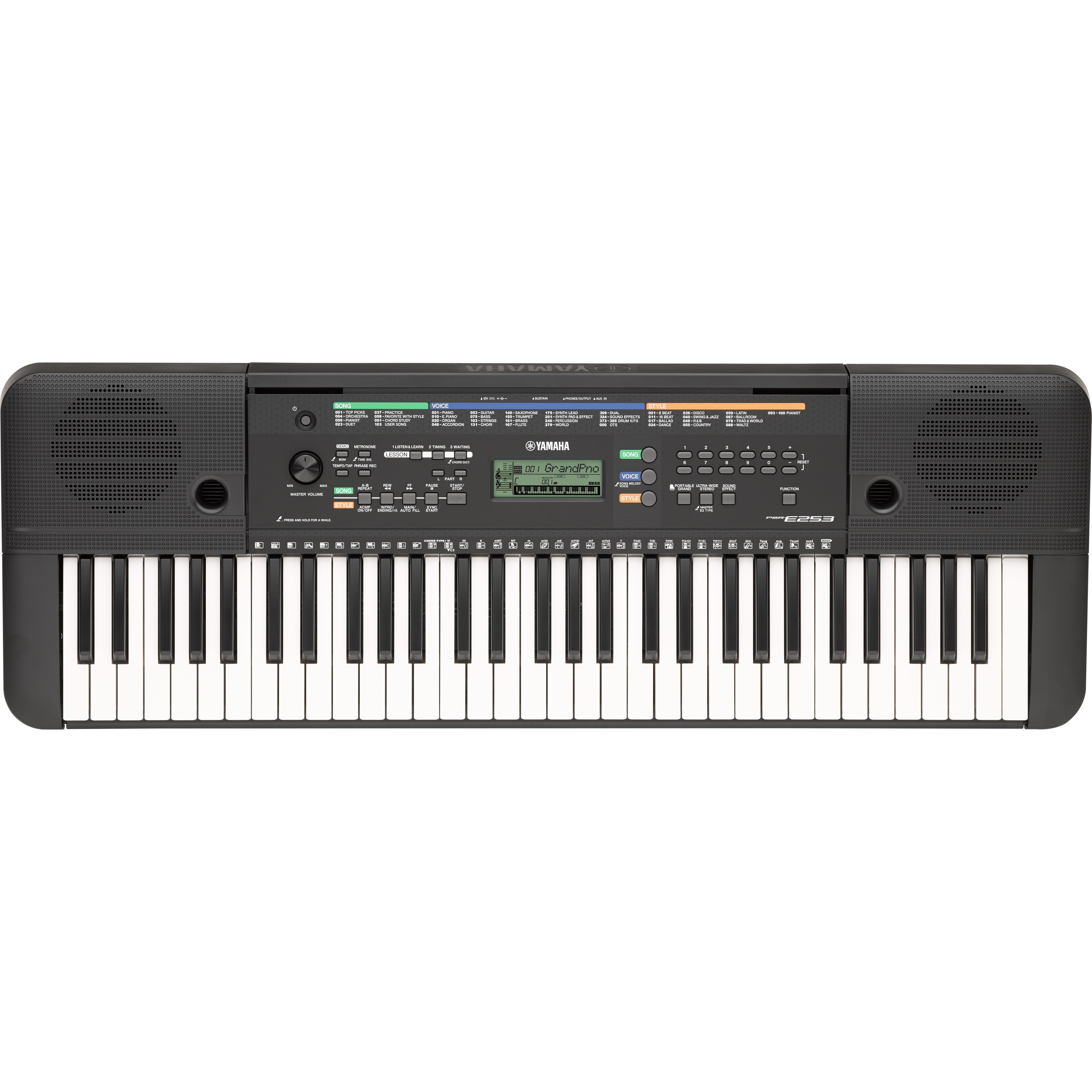 Yamaha psre253 61 key portable keyboard bundle for Yamaha keyboard amazon