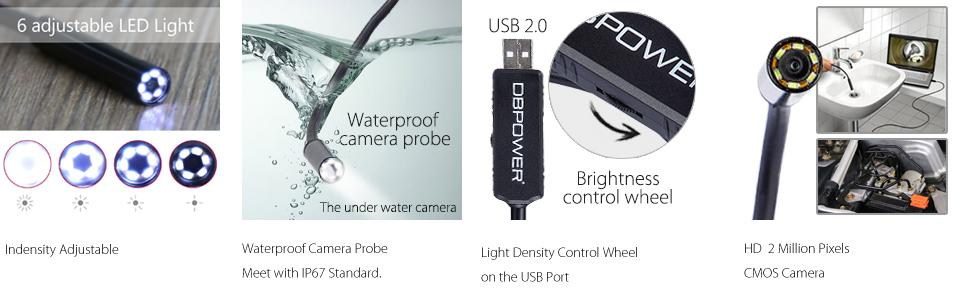 DBPOWER ( 2-in-1 ) 2Million Pixels 5Meter USB Waterproof HD 6LED Borescope  Endoscope Inspection Tube Camera with USB Adpater for Android Device with