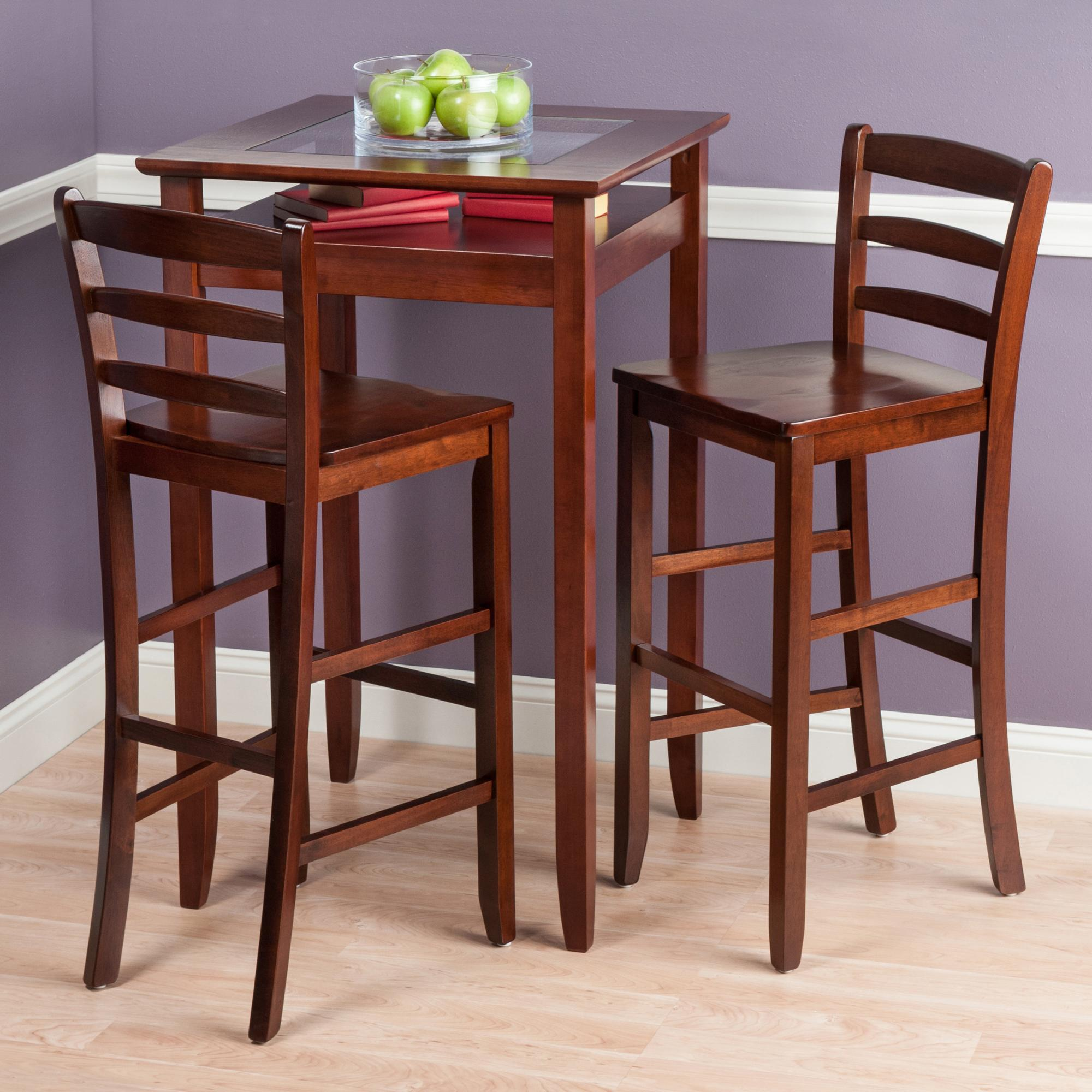 Amazon.com: Winsome Wood Halo 3 Piece Pub Table Set with 2 Ladder ...