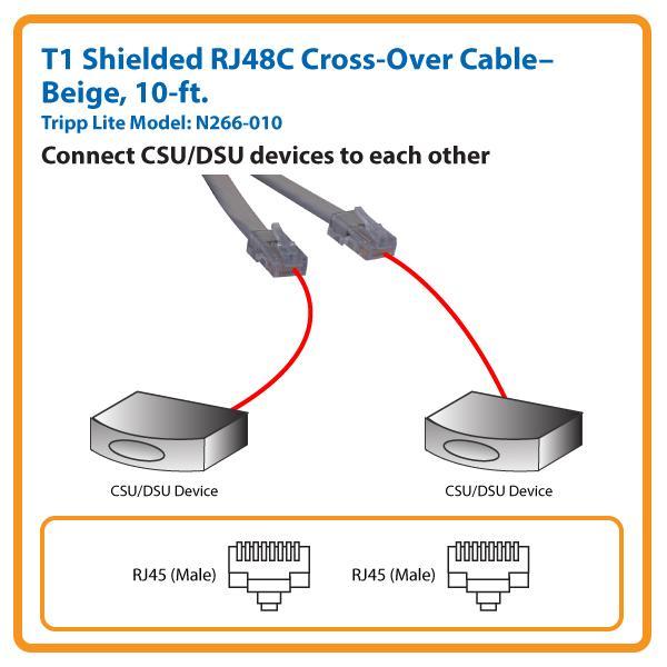 rj 48c t1 wiring diagram amazon.com: tripp lite t1 shielded rj48c cross-over cable ...