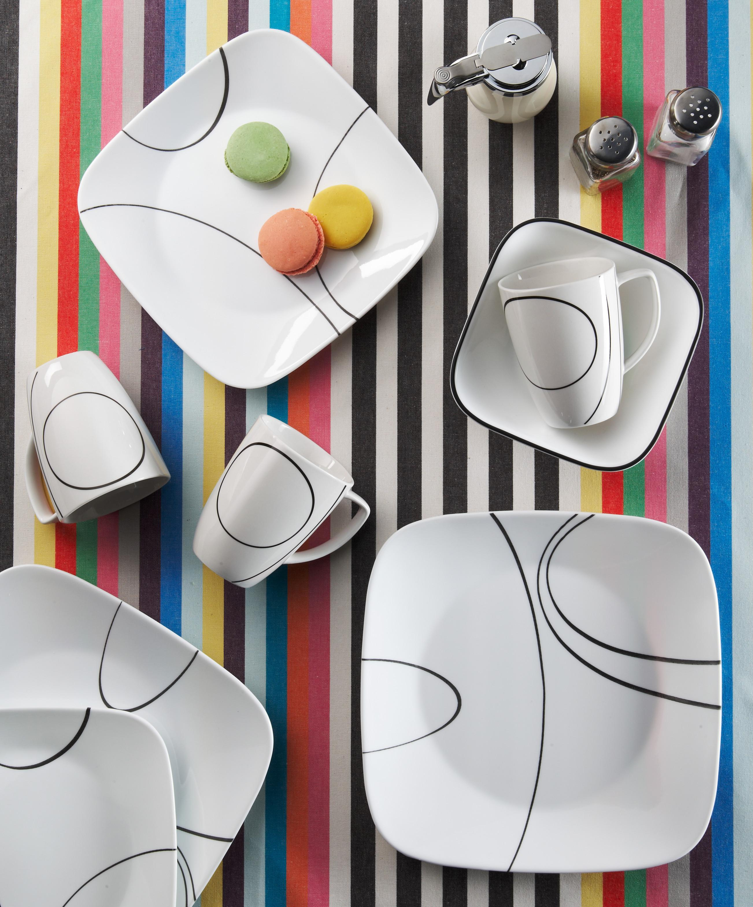 From the manufacturer & Amazon.com | Corelle Square Simple Lines Square 16-Piece Dinnerware ...
