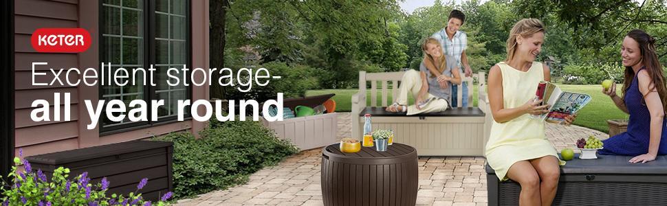 Keter Outdoor Storage deck boxes garden bench seating