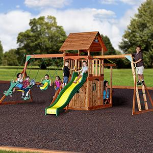 Amazon Com Backyard Discovery Saratoga All Cedar Wood Playset Swing