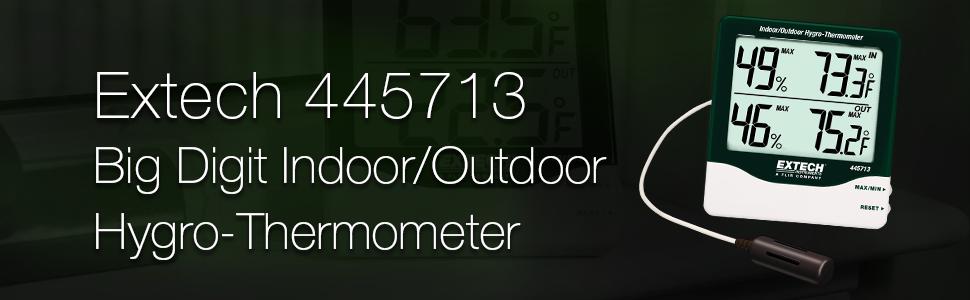 Extech, 445713, Big Digit, Indoor/Outdoor, Hygro-Thermometer