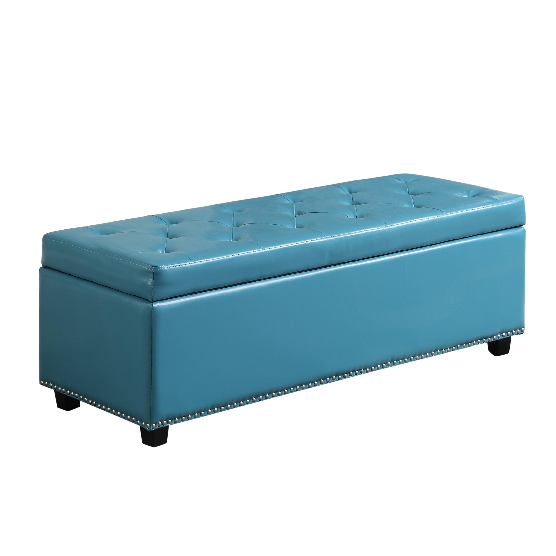 Simpli Home Hamilton Rectangular Storage Ottoman Bench Large Mediterranean Blue