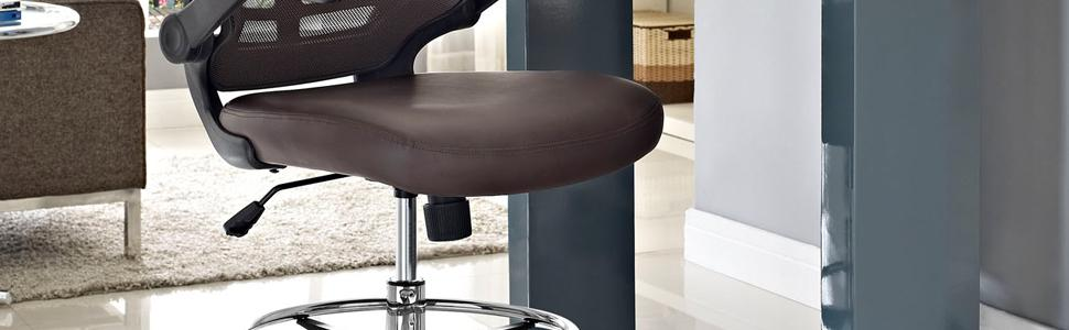 Amazon Com Modway Attainment Drafting Stool In Brown