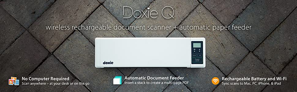 Doxie Q is the wireless rechargeable document scanner with automatic paper feeder. Scan anywhere.