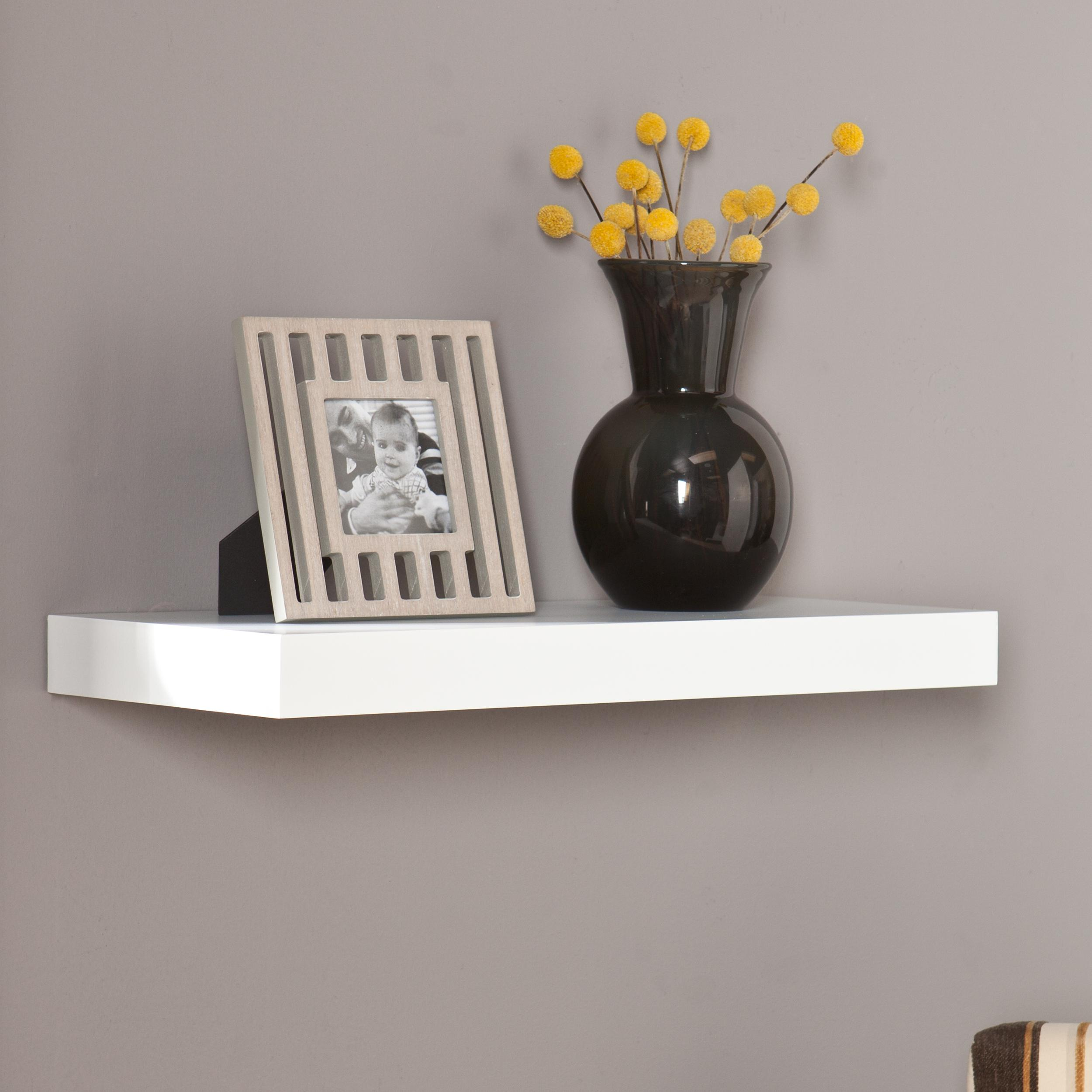 southern enterprises chicago floating wall shelf 24 wide white finish home kitchen. Black Bedroom Furniture Sets. Home Design Ideas