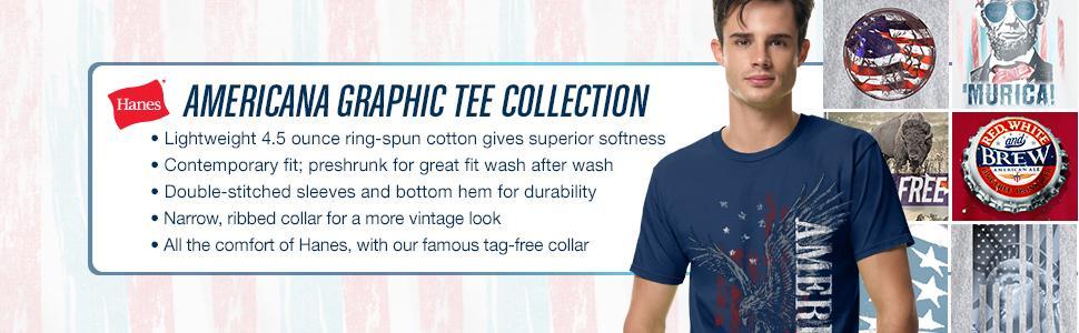 545668fe Hanes Men's Graphic T-Shirt - Americana Collection | Amazon.com