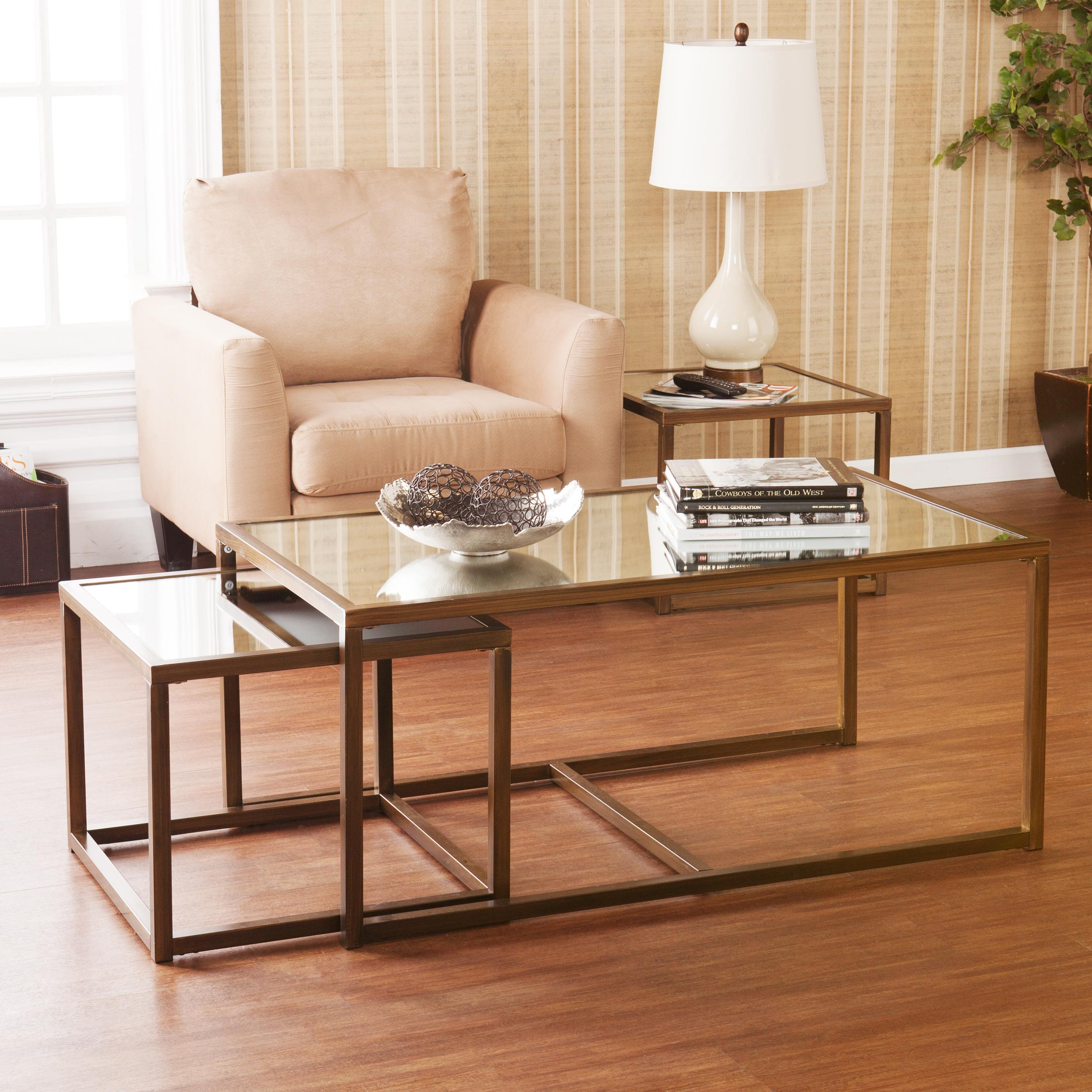 Amazon Southern Enterprises Nested Cocktail and End Table Set