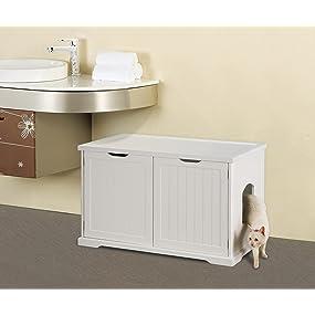 cat washroom, litter box, bench, pet organization, white