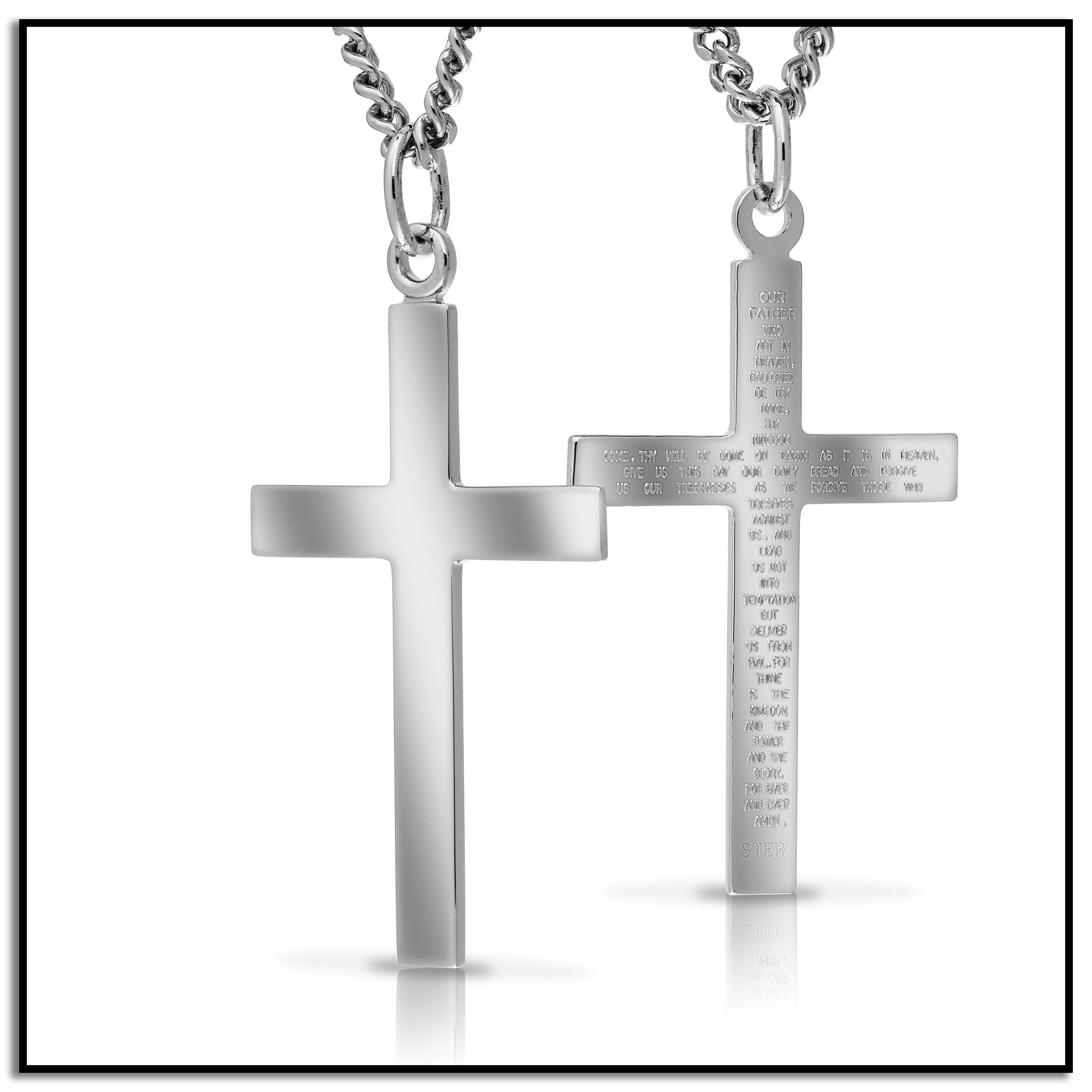 Amazon Men s Sterling Silver Solid Polished Cross with Lord s