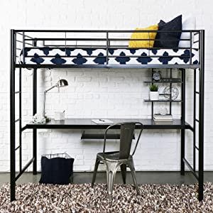 Walker Edison Black Metal Twin Loft Bed With Workstation