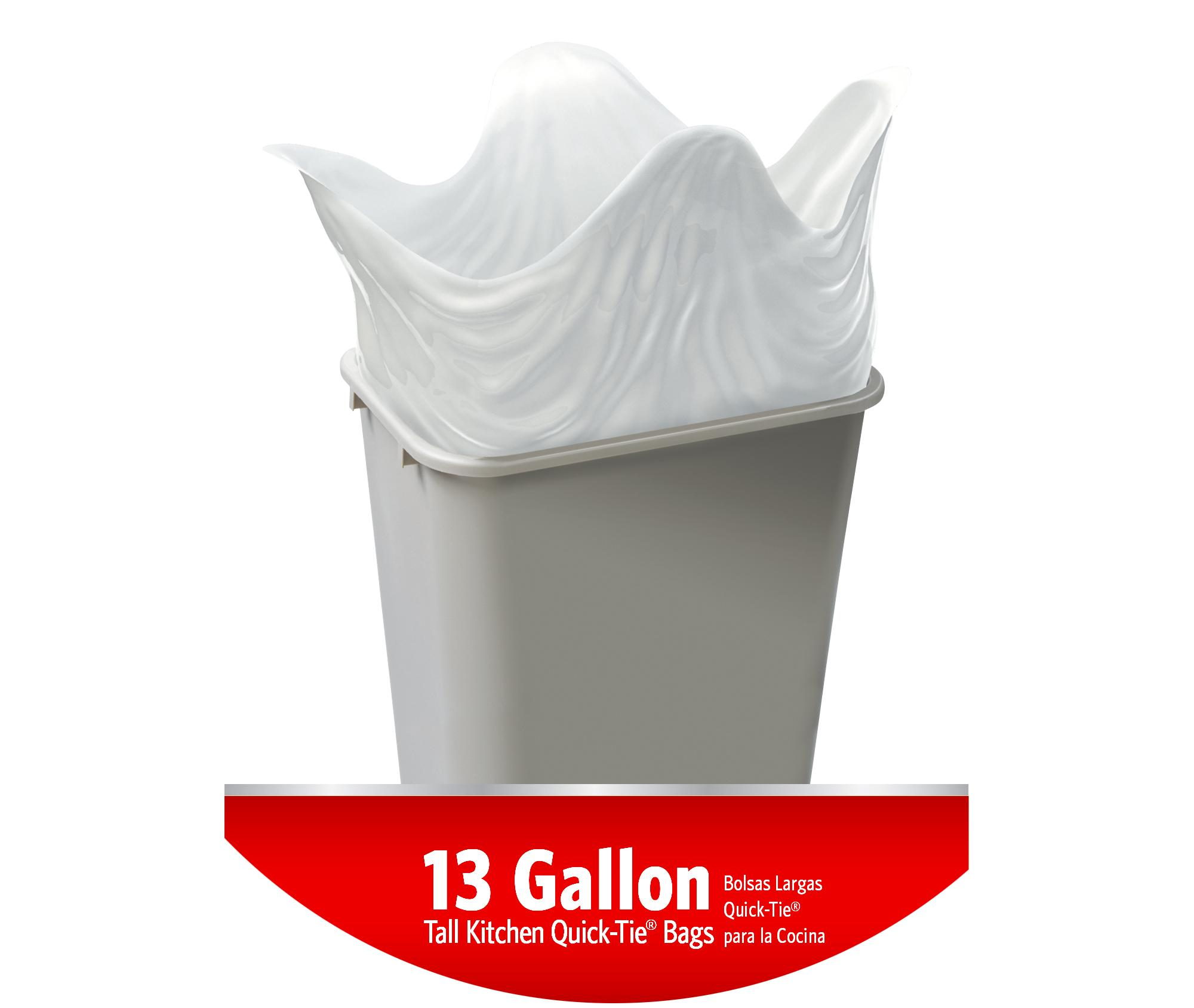 glad tall quick tie kitchen trash bags 13 gallon 80 count grocery gourmet food. Black Bedroom Furniture Sets. Home Design Ideas