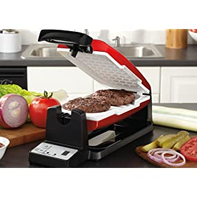 Oster 7-Minute Grill with DuraCeramic Coating and Digital Timer, Red/White, CKSTCG22R-ECO