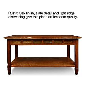 Amazoncom Rustic Slate Rectangular Coffee Table Rustic Oak