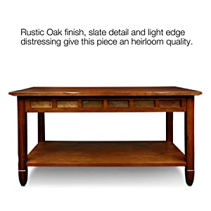 Merveilleux 10058,Rustic Slate Coffee Table,Rustic Oak Finish,Distressed,Running Slate  Details