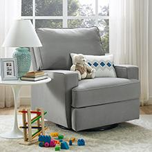 Baby Relax Rylan Swivel Gliding Recliner Gray Nursery Room