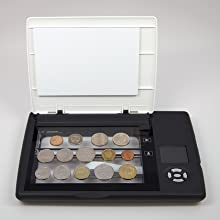 scanning a collection of coins from around the world