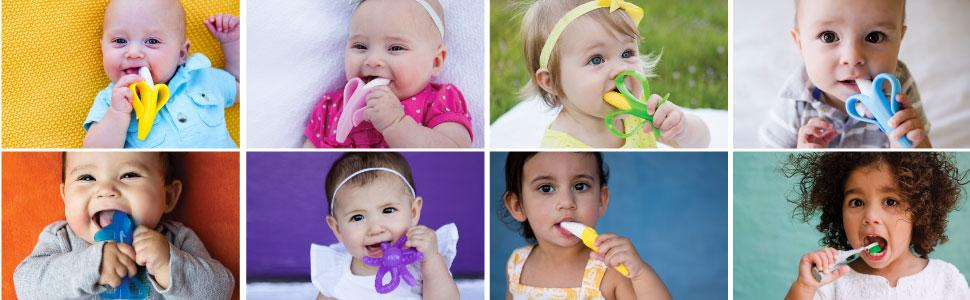 Baby Banana Toothbrush Teether Octopus Elephant Corn Pink Blue Shark Baby Silicone Toddler