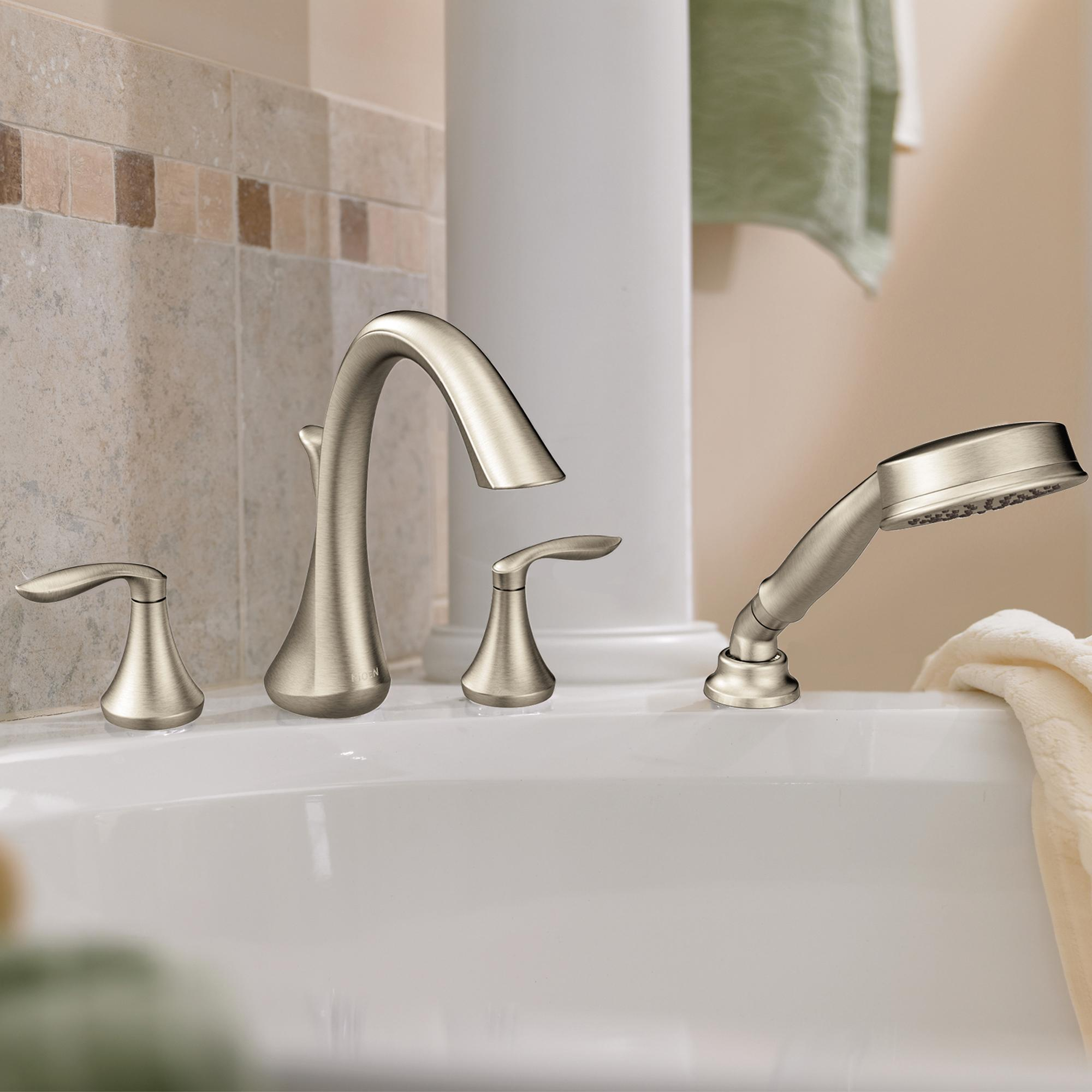 roman tub. View larger Moen T944BN Eva Two Handle High Arc Roman Tub Faucet and Hand