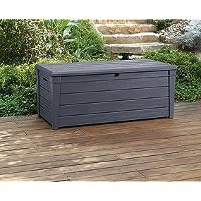 Keter Brightwood 120 Gallon Deck Box Garden Bench Patio Seating Storage