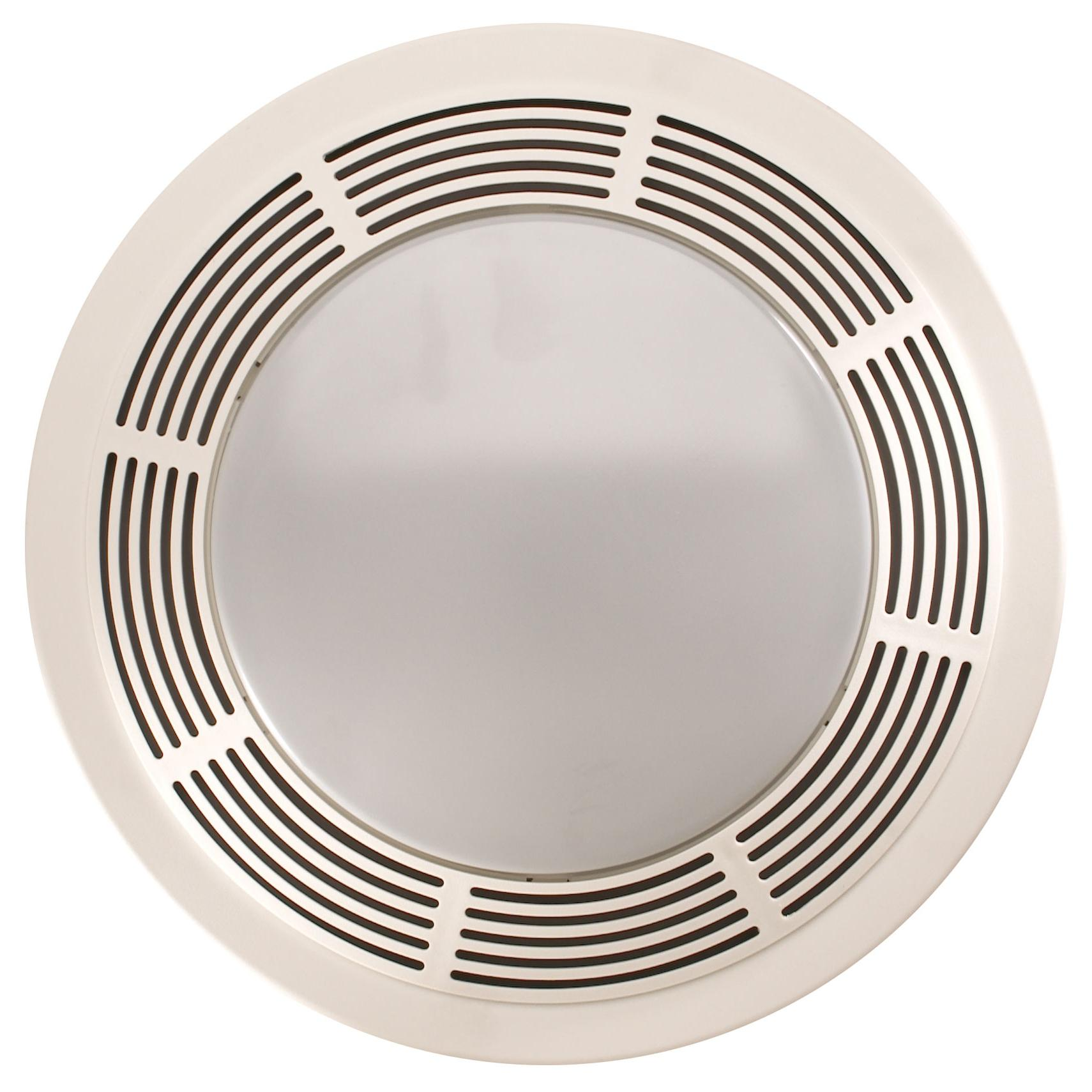 Broan Fan And Light With Round White Grille And Glass Lens - Bathroom exhaust fan 150 cfm for bathroom decor ideas