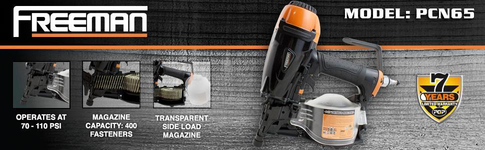freeman, pcn65, warranty, professional, diy, comfort grip, transparent bucket, side load magazine