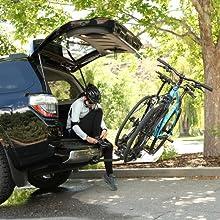rear vehicle access, rack tilts down, 2 bike rack, hitch mount rack, chinook, swagman,
