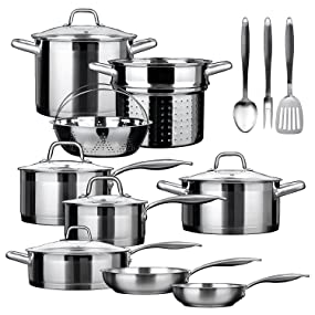 17 piece impact bonded induction ready cookware