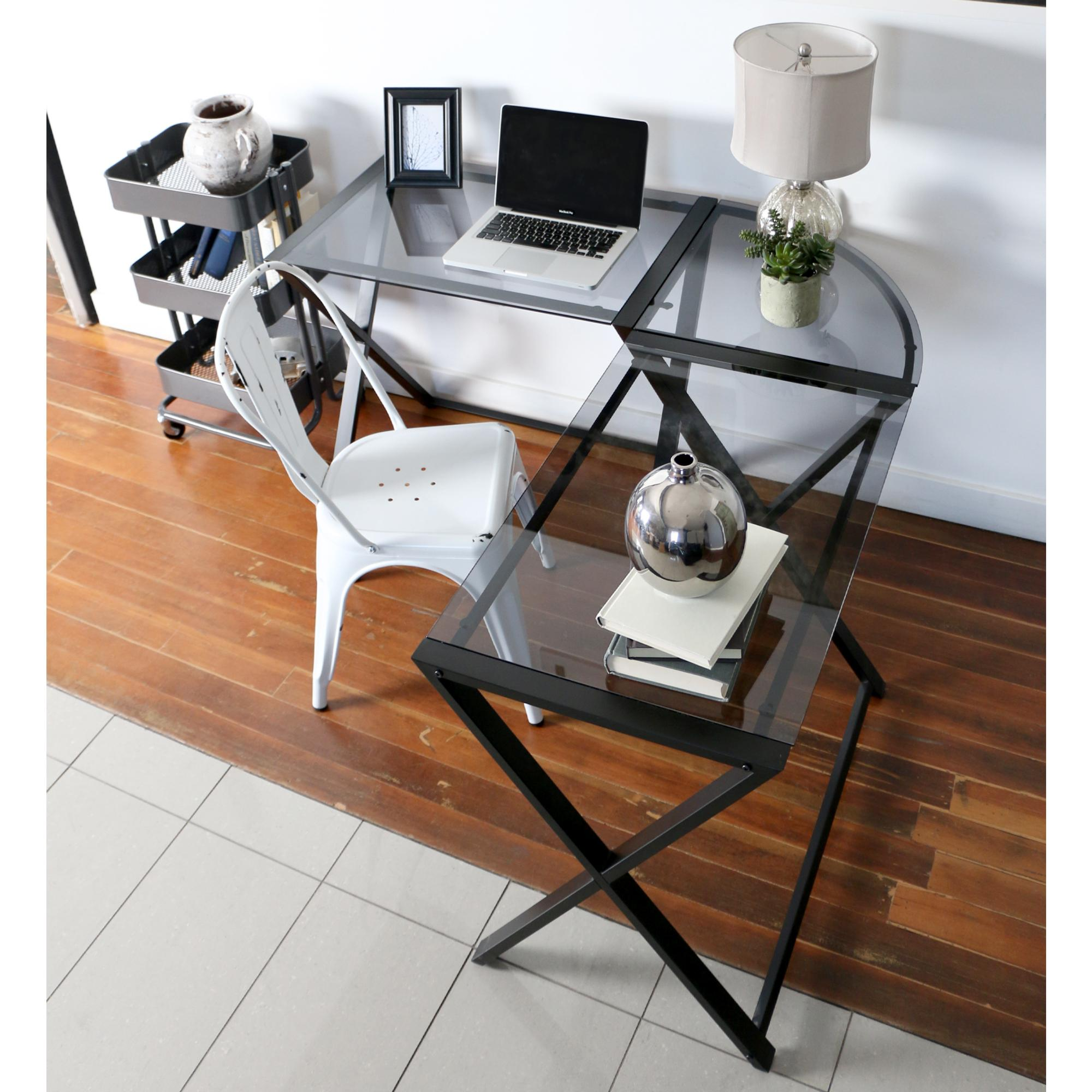 Amazon WE Furniture Elite Soreno Glass Corner puter Desk