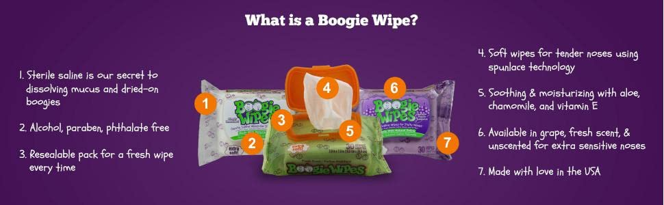 What is a boogie wipe saline nose wipes baby infant toddler allergy relief boogers mucus grape fresh