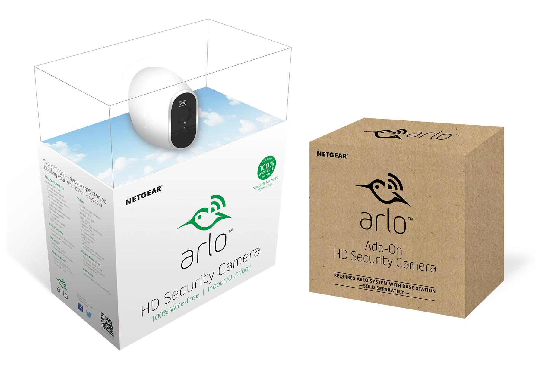 arlo smart home security camera system five camera bundle one camera with base. Black Bedroom Furniture Sets. Home Design Ideas
