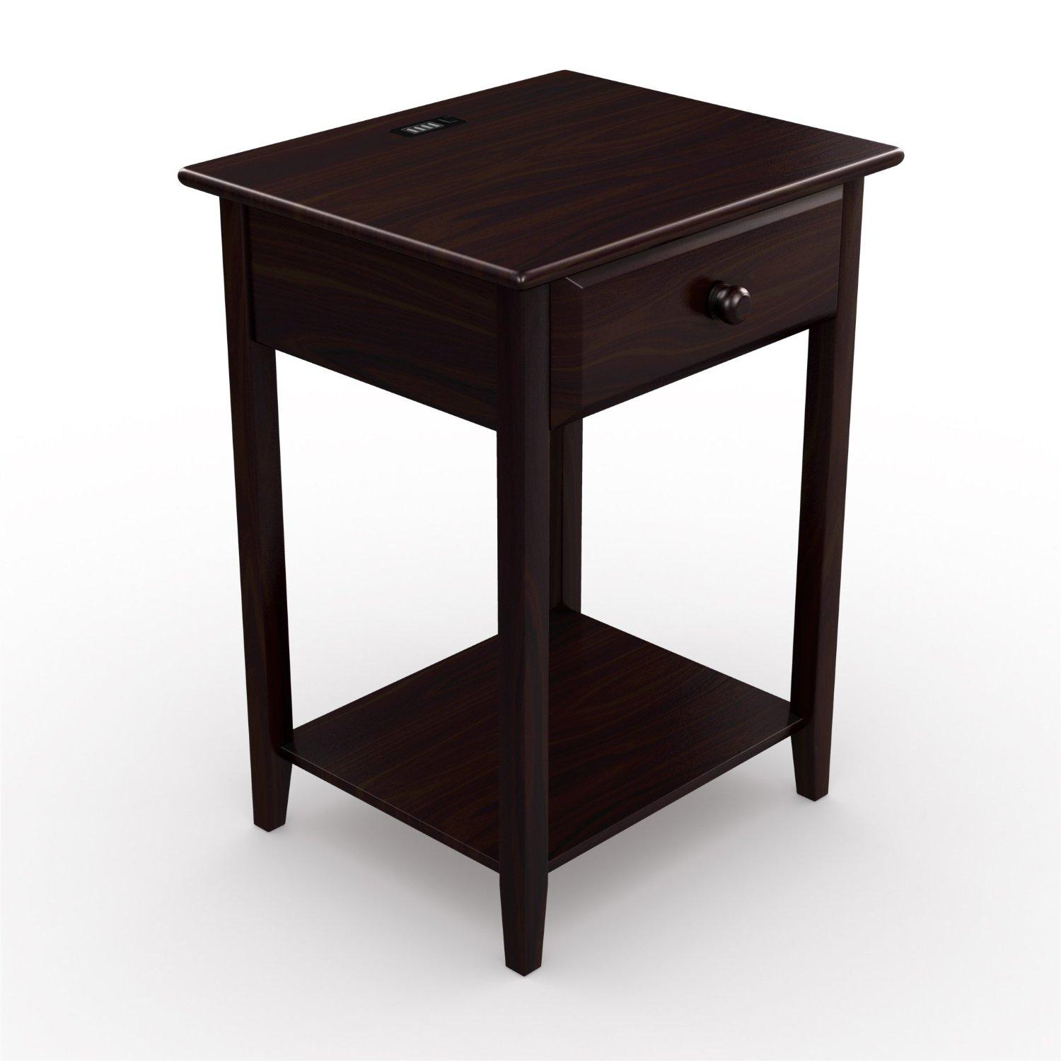 stony edge night stand end accent table with usb port espresso 17 home kitchen. Black Bedroom Furniture Sets. Home Design Ideas