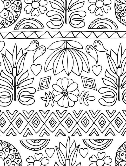 Adult Coloring Book Folk Art