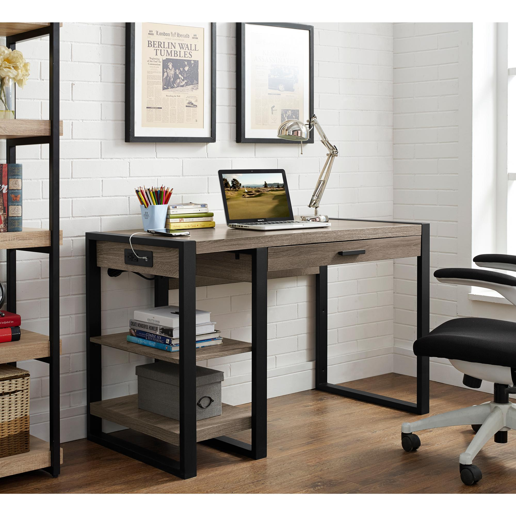 Amazon Com We Furniture Industrial Wood Storage Computer Desk