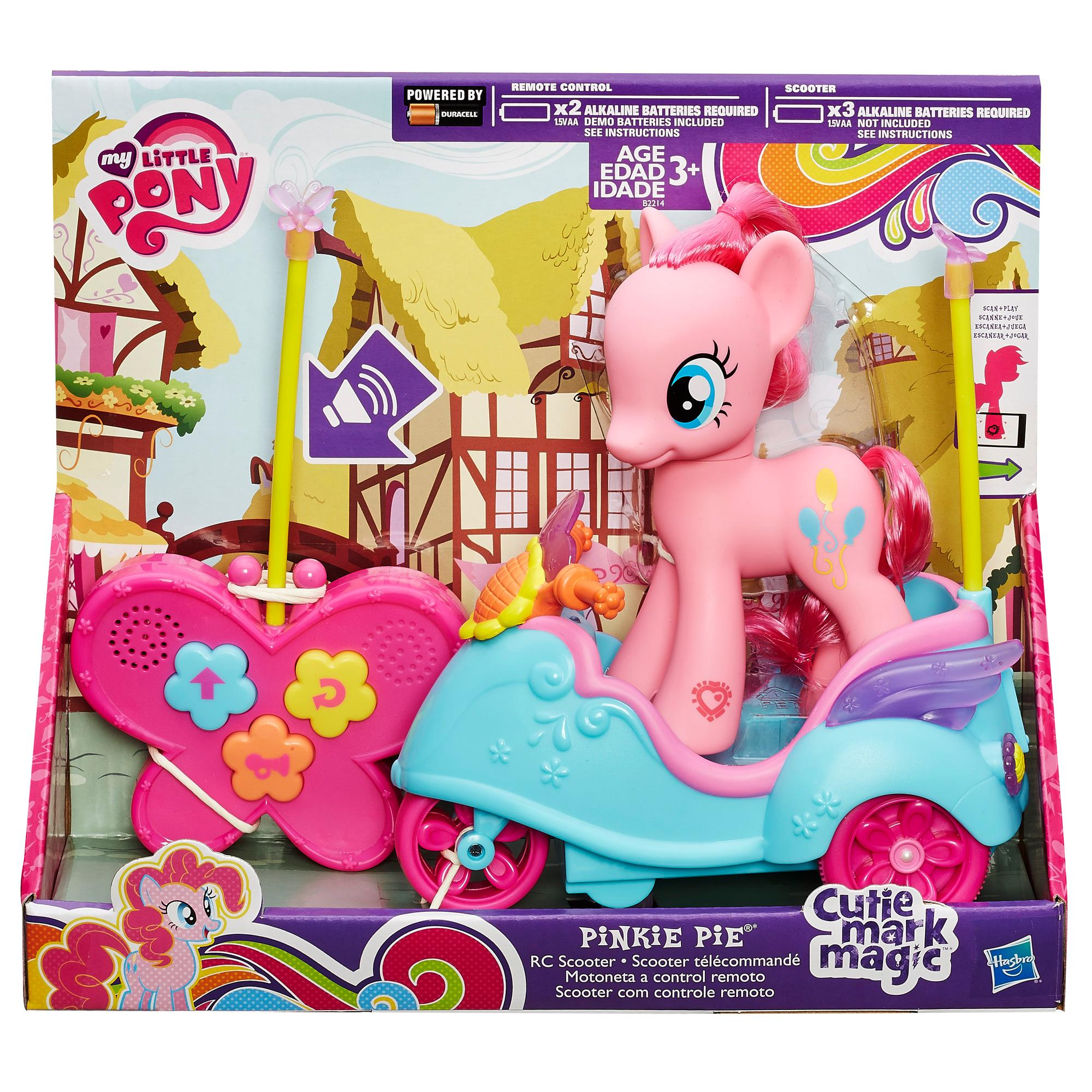 Includes scooter, remote control, pony figure, and instructions.