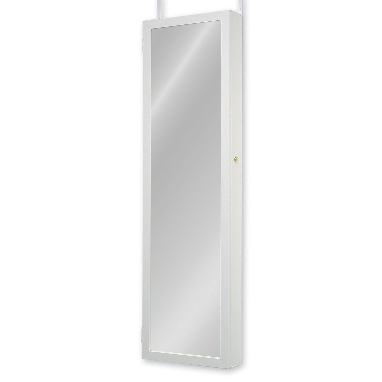 Combination armoire door built in jewelry makeup mirror for White framed full length mirror