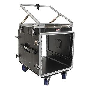 console mixer rack, pop-up mixer rack, top loading mixer rack, sound mixer